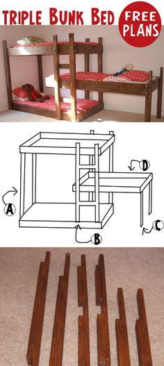 Triple Bunk Bed - I only really need a double/twin bunk, although if the triple could be made into a double and one single bed later, Id be interested! Little boy will eventually have his own room while the girls continue to share. Bunk Bed Plans, Murphy Bed Plans, Kids Bunk Beds, Triple Bunk Beds, 3 Tier Bunk Beds, Diy Bett, Bunk Bed Designs, Boy Room, Diy Furniture