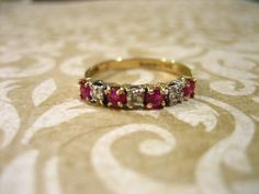 Vintage Ruby and Diamond Gold Anniversary Band Stackable Ring. $152.00, via Etsy.
