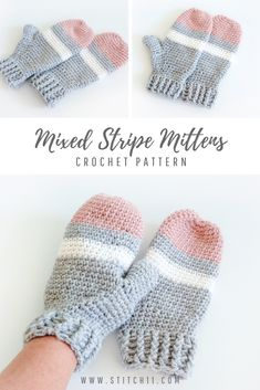 These striped crochet mittens are perfect for a day spent in a winter wonderland. This free crochet pattern will keep you warm and cozy. Crochet Mitts, Crochet Mittens Free Pattern, Bag Crochet, Crochet Crafts, Crochet Projects, Free Crochet, Crochet Patterns, Crochet Dishcloths, Hat Patterns