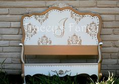 French Provincial Twin Bed by TraceysFancy on Etsy, $675.00  Furniture Bed Twin custom painted gold cream white french provincial bedroom damask monogram