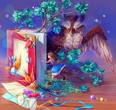 Sua mãe coruja sempre lhe dizia. Não passe apenas pelas folhas, honre o mundo da árvore, ali contida. Entre e percorra o livro.   Joakim Antonio     Imagem: Magic book by Mikoele