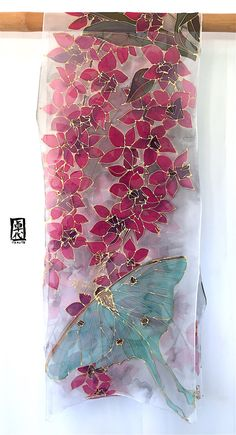 Large Silk Scarf Handpainted ETSY Gift Chiffon Scarf Gray