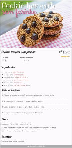 Cookies lowcarb sem farinha - Blog da Mimis - Biscoito integral feito em casa e sem glúten e lactose. O melhor: fácil de fazer!