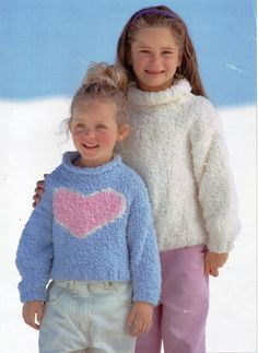 Girls Knitting Pattern Girls Sweater Heart Motif Velvet Sweater Roll Neck Intarsia 22-32inch Chunky Chenille Childrens Knitting patterns PDF by Minihobo on Etsy