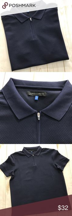 Vince Camuto Men's Waffle Navy Blue Polo NWOT, XL Vince Camuto Men's Waffle Navy Blue Polo NWOT, XL  Fantastic new without tags condition, no issues to mention. Top of shoulder to very bottom hem measurement is approximately 28 inches armpit to armpit measurement is approximately 23 inches.  Please be sure to check out all of my other items, same day or next business day shipping out is guaranteed once paid! Vince Camuto Shirts Polos