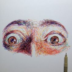 wide-eyed scribble