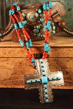 Wilson Padilla necklace, Turquoise + Coral
