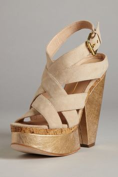 love the two toned wedge and the nude straps
