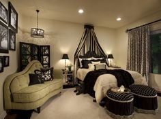 A French inspired master bedroom  Colors:  Black, creme and mint green