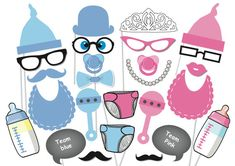 Baby Shower Photobooth Party Props Set 26 Piece by TheQuirkyQuail, $8.00