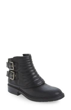 Free shipping and returns on Nine West 'Gingham' Moto Boot (Women) at Nordstrom.com. A channel-quilted cuff and dual buckle straps toughen up a go-to ankle boot shaped from strategically distressed leather to maintain the rugged style.