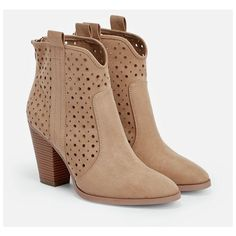 Justfab Booties Starr (£30) ❤ liked on Polyvore featuring shoes, boots, ankle booties, botas, heels, booties, beige, short heel boots, perforated booties and high heel boots