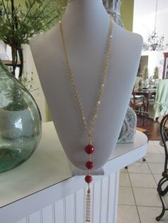 Faceted Red Coral With A Gold Plated Brass by JKCustomDesigns