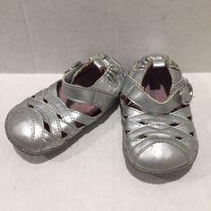 Robeez Toddler Girl 4 Metallic Silver Leather Soft Sole Mary Jane Velcro Strap #Robeez #MaryJanes