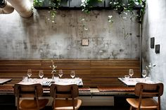Varkst restaurant in cobenhagen, designed by genbyg Coffee Shop Interior Design, Interior Design Themes, Deco Restaurant, Restaurant Design, Bar A Vin, French Kitchen, Green Rooms, Hospitality Design, My Dream Home
