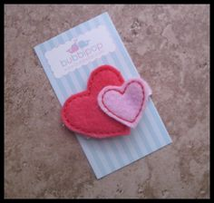 Felt Hair Clip Boutique Dark Hot Pink and Light Pink Double Heart No Slip Valentine's Day. $3.49, via Etsy.