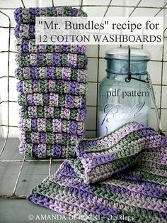 "Bundles"" Cotton Washboards by Amanda Ochocki Crochet Kitchen, Crochet Home, Crochet Gifts, Crochet Yarn, Free Crochet, Crochet Potholders, Crochet Dishcloths, Loom Knitting, Knitting Ideas"