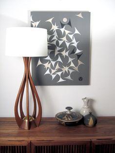 Mid-Century Danish Modern Walnut Biomorphic Lamp - Large, Sculptural, Newly Rewired. $175.00, via Etsy.
