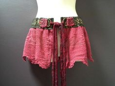 WOMANS GYPSY BELT over skirt, bohemian shaby style, crimson pink crochet belt, gold braid belt, burning man festival belt, hippy boho skirt
