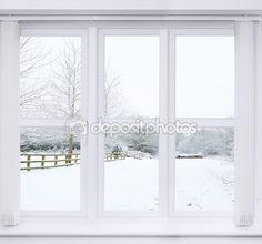 Sníh scénu okno — Stock obrázek #53846513