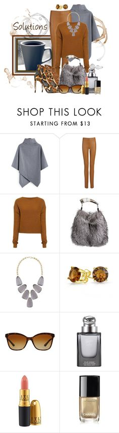 """Solutions"" by jckallan ❤ liked on Polyvore featuring Joseph, TIBI, Overland Sheepskin Co., Kendra Scott, Bling Jewelry, Bulgari, Gucci, Chanel, coffee and contestentry"