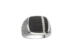 David Yurman sterling silver ring with textured black onyx and diamonds.