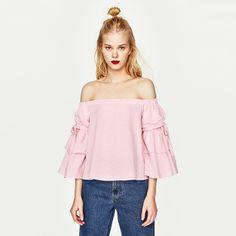 ladies ruffle sleeve blouse