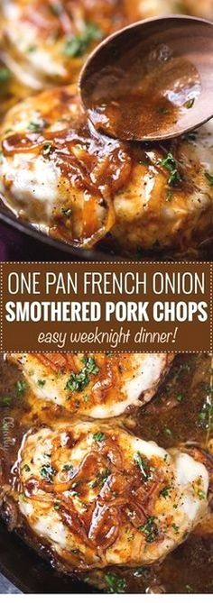 Perfect for a weeknight meal this French onion smothered pork chops recipe is all made in one pan and in about 30 - 40 minutes! CLICK PIN TO LEARN MORE! Easy Pork Chop Recipes, Meat Recipes, Cooking Recipes, Healthy Recipes, Recipes With Pork Chops, Delicious Recipes, Pork Recipes For Dinner, Recipies, Cooking Games