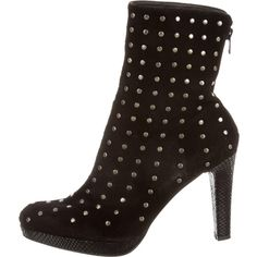 Pre-owned Stuart Weitzman Suede Embellished Ankle Boots ($125) ❤ liked on Polyvore featuring shoes, boots, ankle booties, black, black suede boots, black boots, black bootie, suede bootie and black studded booties