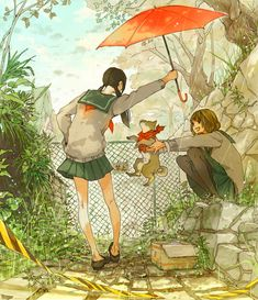 """This is what I imagine @hallowwanderer  and I to look like in anime form... I love all animals and am like """"See the cute little puppy!""""... She preferring cats  is like """" Nice, now put it back."""" But she still cares for it in her own I-am-not-a-dog-person kind of way...hence the umbrella over the pup. lol XD Sorry for the long spew -_-"""""""