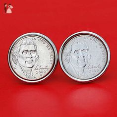 A Pair of US 2009 Jefferson Nickel 5 Cent BU Uncirculated Coin Silver Plated Cufflinks NEW - Groom fashion accessories (*Amazon Partner-Link)