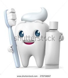 3D Tooth cartoon Smiling with toothbrush and toothpaste, illustration isolate