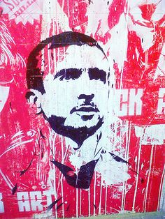 A mural of Eric Cantona inside St Pauli's stadium in Hamburg, Germany
