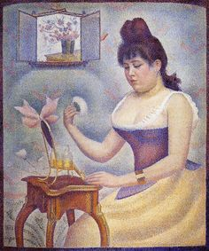 "1888-90. Georges Seurat. ""Young Woman Powdering Herself."" The Courtauld Institute of Art, London."