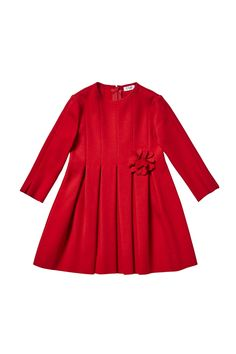 RED MILANO STITCH DRESS WITH PLEATED SKIRT - girl 2-14 | Il Gufo