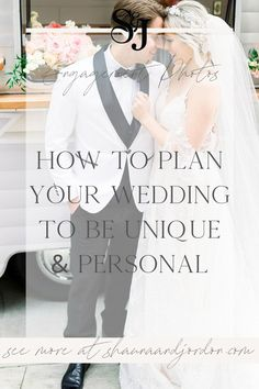 How to plan your wedding to be personal? Check out our wedding planning tips to make sure you come up with personalized wedding ideas! Your wedding deserves to be uniquely yours and we know one or two things about wedding planning. | Shauna and Jordon Photography Wedding Advice, Wedding Planning Tips, Plan Your Wedding, Wedding Day, Traveling Husband, Photography Courses, Getting Engaged, Bride Look, Reception Decorations