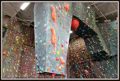 Brooklyn Boulders rock climbing wall in stucco.