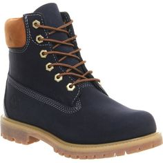TIMBERLAND Premium 6-inch boot ($245) ❤ liked on Polyvore featuring shoes, boots, timberlands, black iris waterbuck, timberland footwear, timberland boots, black shoes, cushioned shoes and kohl shoes