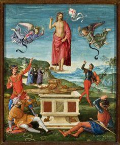 La resurrección de Cristo, c. 1499 - 1502 Rafael Sanzio. Por nuestras obras aspiramos a alcanzar la resurrección.