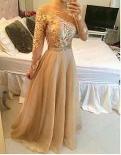 2015 Appliques Gold Prom Dresses, Floor-Length Prom Dresses, Real Made Evening Dresses,Chiffon Backless Evening Dresses, Evening Dresses On Sale