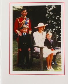1989 Royal Christmas Card.  Prince Charles and Princess Diana with their children William and Harry.