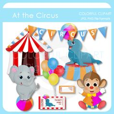 Cute Circus Clipart with tent, elephant, seal and clown.