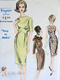 1960s Stunning Mad Men Era Dress Pattern Easy by SoVintageOnEtsy, $35.00