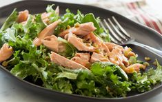 This outstanding salad is loaded with flavor and packed with nutrient-rich ingredients. Baking the salmon for the recipe is easy, but you can also use leftover grilled or poached salmon. Find baby kale in the packaged salad greens section.