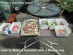 How to Make a Mosaic Table Top Design from Ceramic Tiles: Crafts