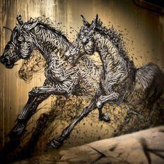 """""""Chinese Street Artist - DALeast / Mural For Nuart 2013 (Stavanger, Norway) Street Art News, Best Street Art, Street Artists, Urban Graffiti, Graffiti Art, Paint Photography, Art For Art Sake, Horse Art, Creative Art"""