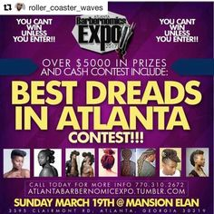 #Repost @roller_coaster_waves with @repostapp  with @repostapp  Best dreads at the Barbernomics Expo March 19th at Mansion Elan. #atlantabarber #barbernomics #Atlanta #nyc #yeezy #beardgang #naturalhair #waves #MansionElan #nastybarbers #barberconnect #ciroc #henny #rollercoasterwaves #barbersunite #barbershop #stylist #bronnerbros #worldstar #barbersinctv