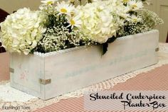 DIY Stenciled Centerpiece Planter Box. I would just follow plans for box and stain it instead. More my style.