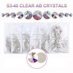 SS3-40-Clear-AB-Crystal-Rhinestone-Flatback-Non-Hotfix-DIY-Nail-Art-Decorations