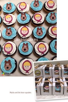 Masha and the bear cupcakes 2D fondant